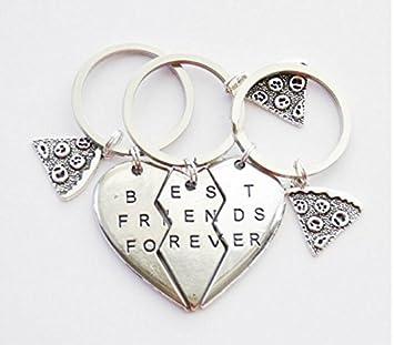 3 BFF llavero Pizza Slice llavero 3 amistad clave anillos ...