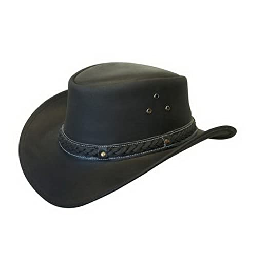 af9bbd8561d Leather Down Under HAT Aussie Bush Cowboy Style Classic Western Outback  Brown Black at Amazon Men s Clothing store