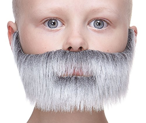 Mustaches Fake Beard, Self Adhesive, Novelty, Small Nobleman False Facial Hair, Costume Accessory for Kids, Gray with White Color