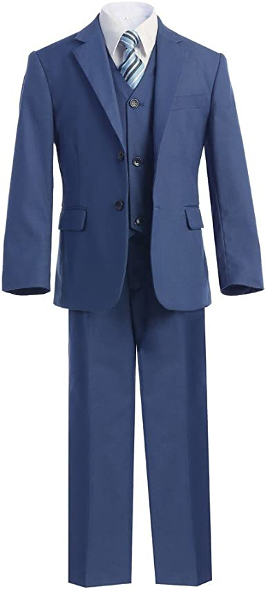 Little Boys Blue Jacket Shirt Vest Clip On Tie Pants 5 Pc Suit Set 2T-7