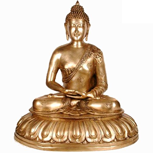 - Idol Collections Large Meditating Lord Buddha Brass Statue, Golden