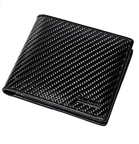(Wallet Minimalist Front Pocket Wallets For Men Credit Card Holder Made From Genuine Carbon Fiber True Carbon Fiber Slim Genuine Leather (Black))