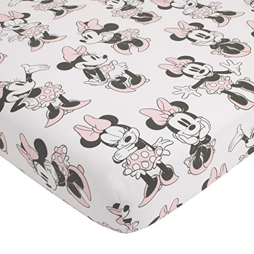 Disney Minnie Mouse Fitted Mini Crib Sheet, Pink/Grey/White/Black