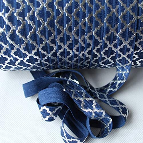 BeesClover Silver Foil Big Quatrefoil Fold Over Ribbon 50Yards-, Accept Custom Print! 370 Navy