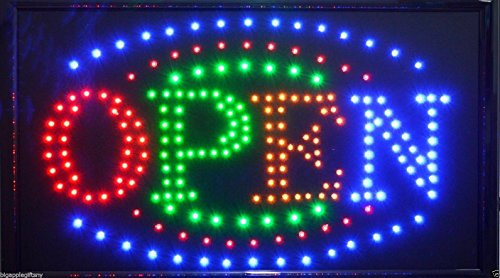 (Brand New LARGE Animated LED Neon BUSINESS OPEN Sign w.Motion ON/OFF Switch 21