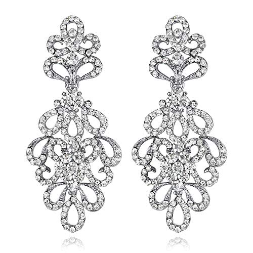 mecresh Clear Crystal Wedding Bridal Drop Dangle Earrings for Women or Bridesmaids ()