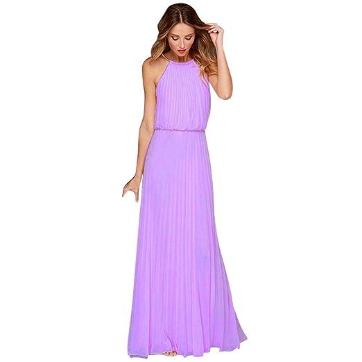 5c37efe7a437 Women s Halter Neck Sleeveless Wedding Maxi Dress Formal Chiffon Sleeveless  Prom Evening Party Dress Purple