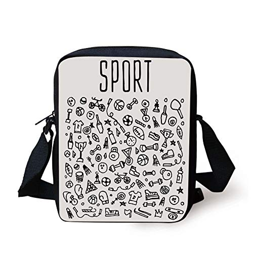 Fitness,Hand Drawn Sport and Fitness Elements Gymnastics Icons Cute Cartoon Style,Black and White Print Kids Crossbody Messenger Bag Purse