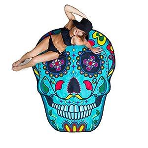 BigMouth Inc Gigantic Sugar Skull Beach Blanket– Fun Beach Blanket Perfect for the Beach, Pool, Lake and More, Machine Washable