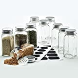 Hayley Cherie - 4 Oz Square Glass Spice Jars (Set of 10) - Chalkboard Labels, Stainless Steel Lids and Shaker Inserts