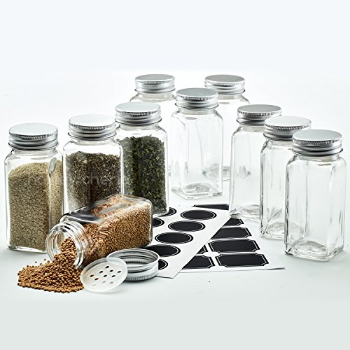 Hayley Cherie - 4 Oz Square Glass Spice Jars (Set of 10) - Chalkboard Labels, Stainless Steel Lids and Shaker ()