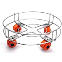 SLIMSHINE Stainless Steel Cylinder Trolley with Wheels | Gas Trolly/LPG Cylinder Stand (Pack of 1)