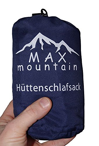 Hüttenschlafsack blau von MAX mountain   Schlafsack Inlett aus atmungsaktivem Mikrofaser, 300g leichter Reiseschlafsack ideal für Hotel und Trekkingtouren