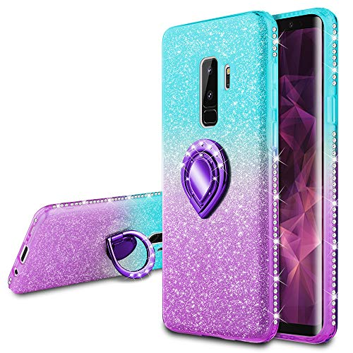 VEGO Galaxy S9 Plus Glitter Gradient Case with Ring Holder Kickstand for Women Girls Bling Diamond Rhinestone Sparkly Fasion Shiny Cute Protective Case for Samsung Galaxy S9 Plus (Teal Purple)