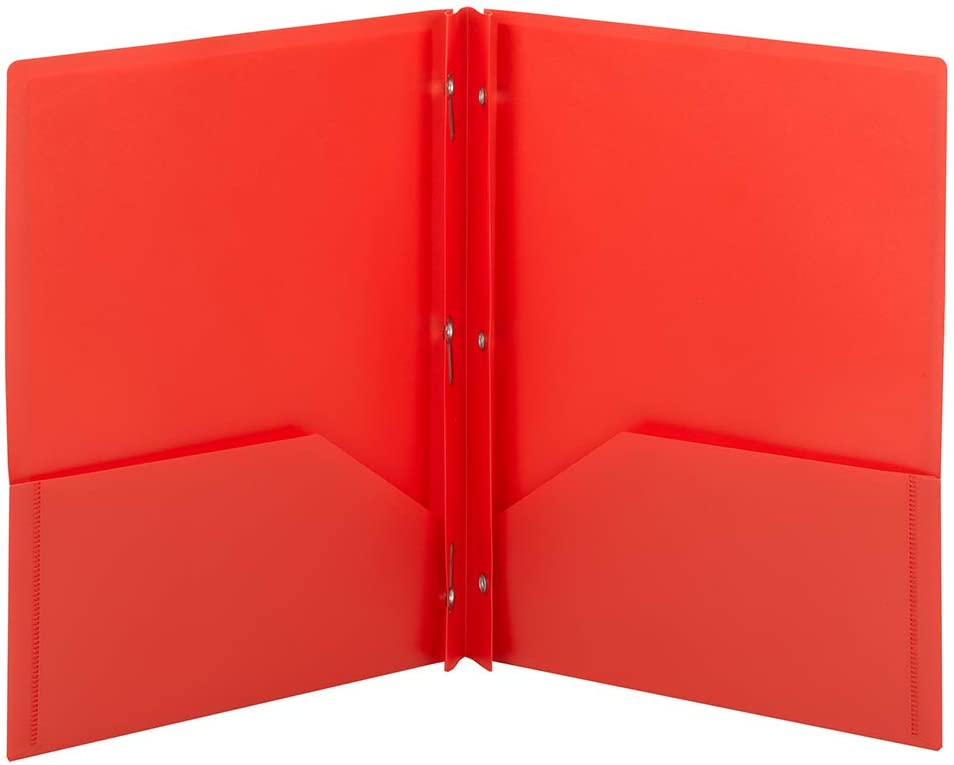 Smead Poly Two-Pocket Folder, Three-Hole Punch Prong Fasteners, Letter Size, Red, 3 Per Pack (87730) : Office Products