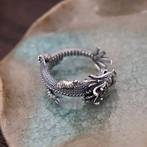 Vintage Unique 925 Sterling Silver Chinese Dragon Open Pinky Ring with Cubic Zironia for Men Women by For Fox (Image #3)