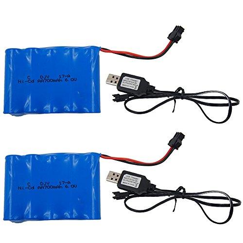 Sotodik 700mAh 6.0V Rechargeable Battery Set Ni-Cd AA for RC Car 2PCS/Set with 2PCS USB Charger(Color May Vary)