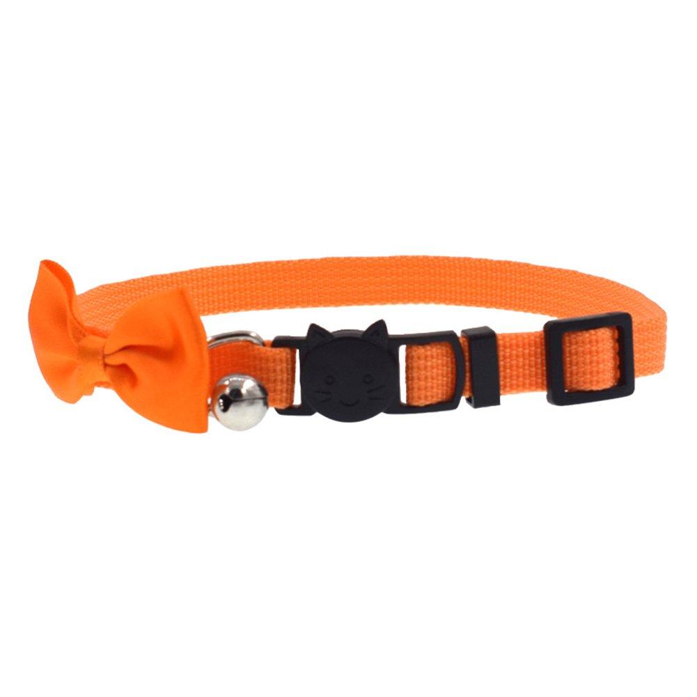 wanshenGyi Pet Collar, Fun, Cute, Hot, Fashion Cat Kitten Puppy Dog Adjustable Soft Bowknot Neck Collar Bell Pet Decor - Orange, Pet Toys, Home, Travel, Gifts.