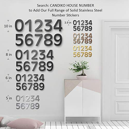 4 Inch Self Adhesive Stainless Steel Metal House Address Number 1 Sticker for Home Door - Bronze by CANDIKO