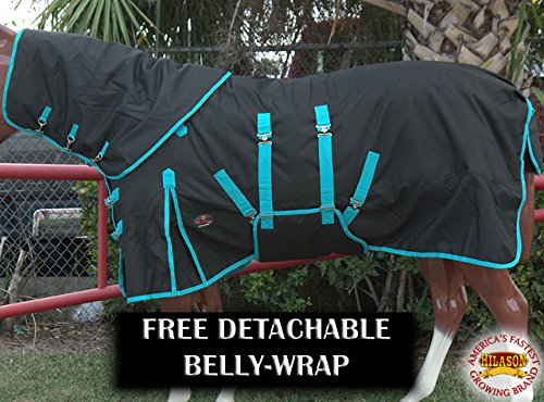 HILASON 78 1200D Winter Horse Neck Cover Belly WRAP Blanket Black Turquoise