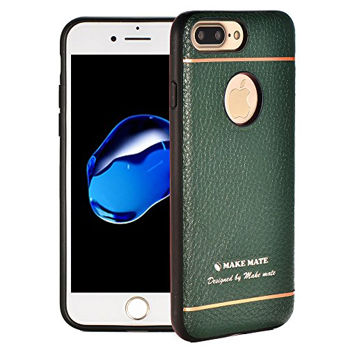 iPhone 7 Plus Case, iPhone 8 Plus Leather Cover Case Genuine Leather Ultra-thin Slim Fit Protective Back Cover Case for iPhone 7 Plus / iPhone 8 Plus by Make mate (Dark Green)