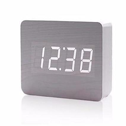 Madera silencio Reloj despertador digital creativa reloj electrónico reloj control de sonido luminoso, gris