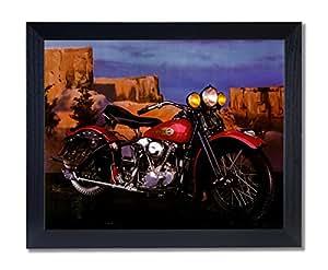 Knucklehead Harley Davidson Motorcycle Picture Black Framed Art Print