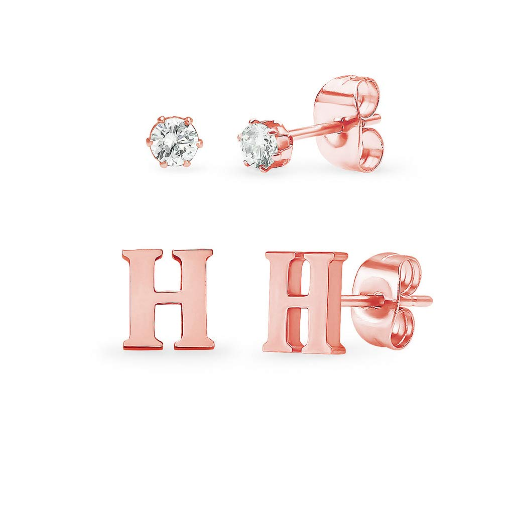 Stainless Steel Rose Gold Tone Alphabet Initial Letter Tiny Earring Studs With Cubic Zirconia 3mm Set Letters A-Z