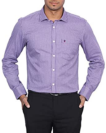 D Indian Club Purple Micro Check Smart Fit Shirt XXL 44