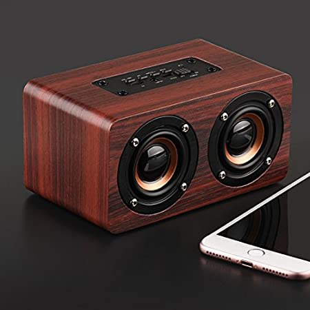 AUX,Hands-Free Speaker,Voice Prompt,Double Loudspeakers HiFi Sound Speakers for Party Office Outdoors Wooden Bluetooth Speaker,Desktop Wireless Bluetooth Portable Speaker Support TF Card Red