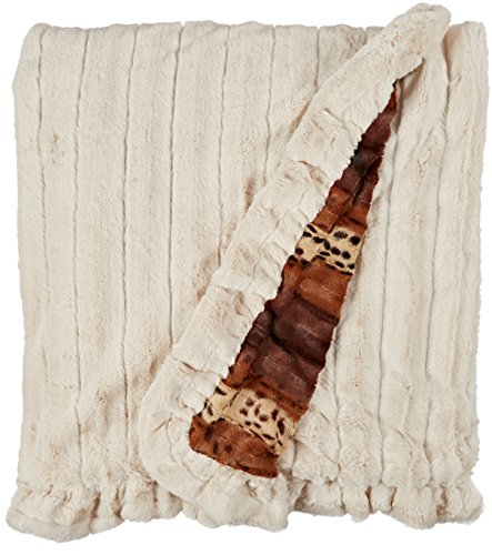 BESSIE AND BARNIE Pet Blanket, X-Large, Wild Kingdom/Natural Beauty with Ruffle by BESSIE AND BARNIE