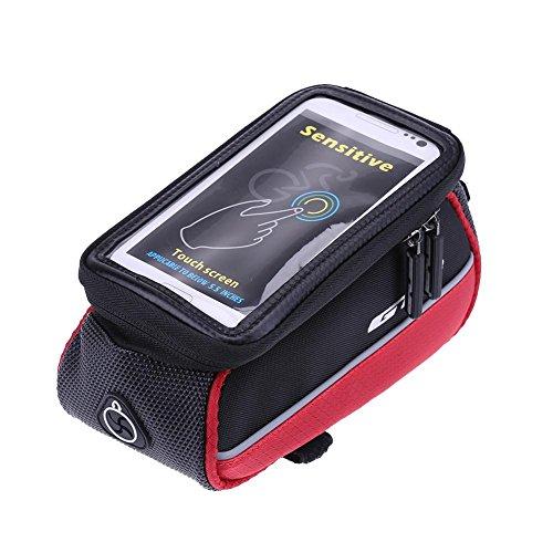 broadroot Fahrrad Front Tube Rahmen Touchscreen Handy Halter Tasche rot