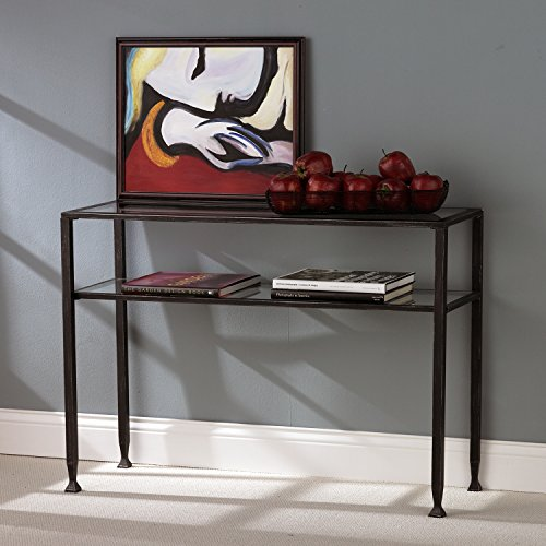 Durable Metal Sofa Table with Glass Top – Black