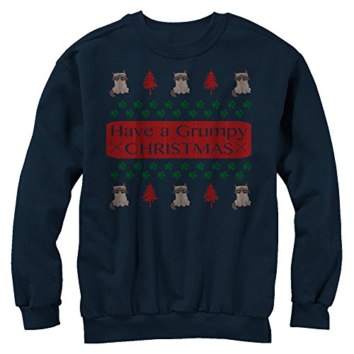 Grumpy Cat Ugly Christmas Sweater Print Mens Graphic Sweatshirt