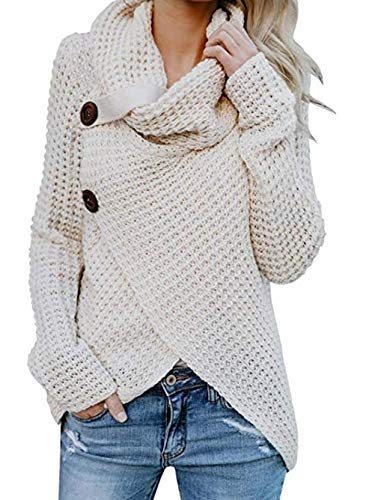 Famulily Womens Chunky Turtle Cowl Neck Asymmetric Hem Wrap Button Winter Warm Cozy Knitted Pullover Sweaters White M