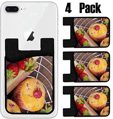 Raspberry Muffins - MSD Phone Card holder, sleeve/wallet for iPhone Samsung Android and all smartphones with removable microfiber screen cleaner Silicone card Caddy(4 Pack) Some Strawberry Rhubarb and raspberry muffins a