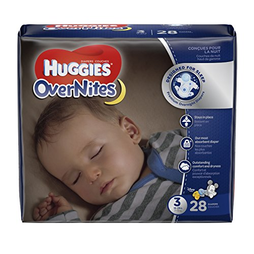 HUGGIES OverNites Diapers, Size 3, 28 ct., Overnight Diapers (Packaging May Vary)