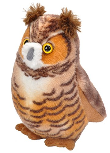Wild Republic Audubon Birds Great Horned Owl with Authentic Bird Sound, Stuffed Animal, Bird Toys for Kids and Birders ()