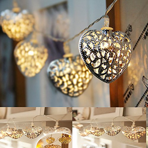 [New 10LED Filigree Metal Heart Battery Operated Bedroom INdoor Fairy Lights Set32] (Plug And Socket Costume Canada)