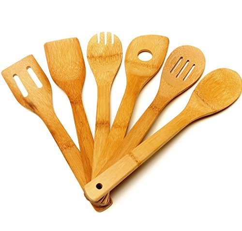 Merdumia Bamboo Cooking Utensils - 6 Set of Bamboo Kitchen Tools!