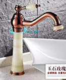 AWXJX European Style Gold Hot And Cold Jade Wash Basin Rotate Copper Sink Taps