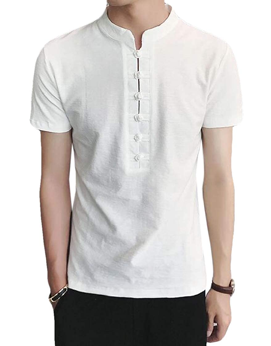 SELX Men Chinese Traditional Short Sleeve Linen Cotton Frog Button Tee T-Shirt