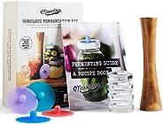 Masontops Complete Mason Jar Fermentation Kit - Easy Wide Mouth Jars Vegetable Fermenting Set - DIY Equipment