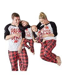 Papa Mama Kids Baby Bear Family Matching Christmas Pajamas Sleepwear Homewear Sets