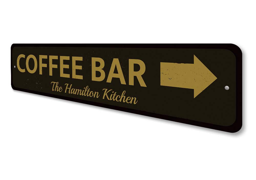 Coffee Bar Directional Arrow Sign Personalized Family Name Sign ENSA1001785