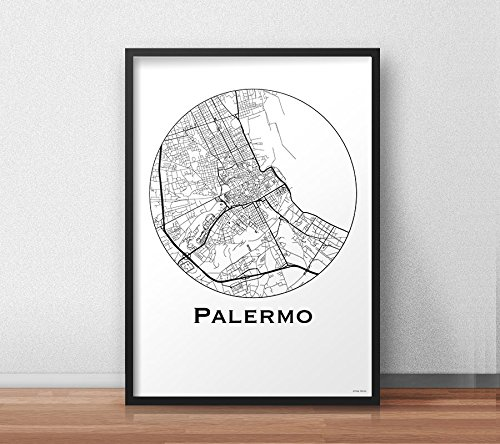 Print palermo italy minimalist map a4 a3 a2 city map art print palermo italy minimalist map a4 a3 a2 city map art sciox Images