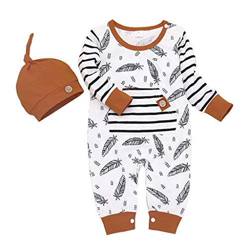 RQWEIN Baby Boy Girl Clothes Toddler 3D Ears Outfits Feather Print Striped Romper Hoodie Sweatshirt Long Sleeve Clothing Set