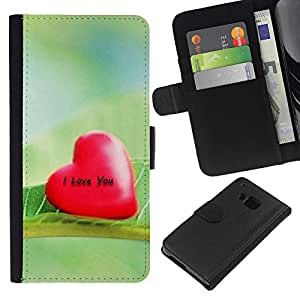 Ihec-Tech / Flip PU Cuero Cover Case para HTC ONE M7 - Love I Love You