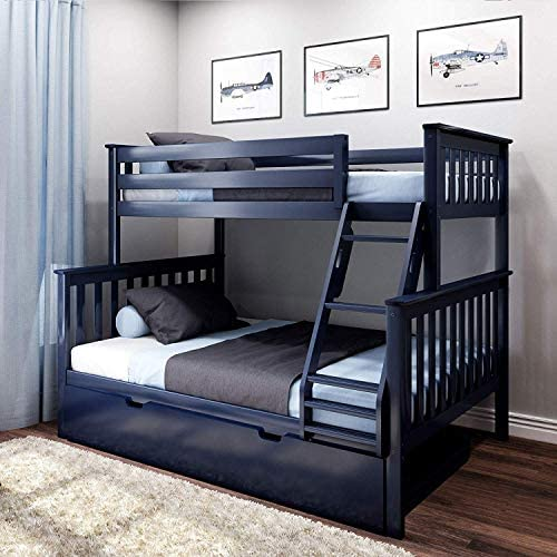 Max Lily Solid Wood Twin Over Full Bunk Trundle Bed