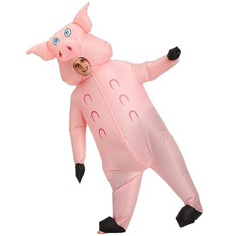 AFuex Disfraz Hinchable Cerdo Rosado Poliéster Impermeable Disfraz para Halloween Cosplay Fiesta Navidad